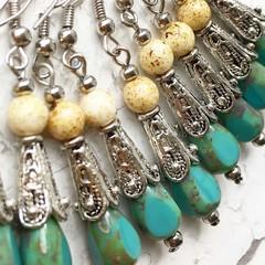 Opaque Turquoise Czech Glass Drop Metal Beaded Hippy Earrings