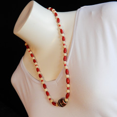 Wood Bead Statement Necklace in Red