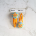 Girl's Hair Clip Set with Flowers - Blue and Orange
