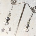 Opaque White Gold Rose Bead Dangle Earrings