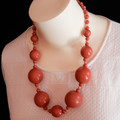 Hand painted Wood Bead Necklace in Dusky Rose
