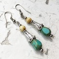 Opaque Turquoise Czech Glass Drop Metal Beaded Hippy Earrings