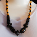 Wood Bead Necklace in Black & Yellow