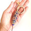 Beaded Keychain, Tribal Inspired Keyring, Bag Bling, Bag Tag, Chunky Key Chain