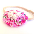 Set of Floral Baby Headband, Pink and Blue Infant Headband, Dainty Baby Headband