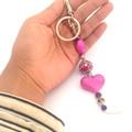 Bag Charm, Boho Keychain, Beaded Pink Key chain, Unique Key ring,Tribal Keychain
