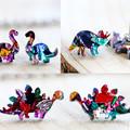 Gift Box 3 Pair Dinosaur Earrings - Rainbow Glitter - Surgical Steel