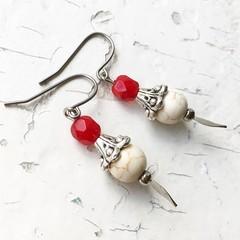 Faux White Turquoise Red Czech Glass Beaded Little Dagger Earrings