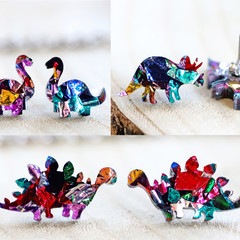 Gift Box 3 Pair Dinosaur Earrings - Rainbow Glitter - Surgical Steel