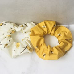 Sweet Honeybee Scrunchies Set of 2 Bumblebee Organic Cotton Hair Elastics