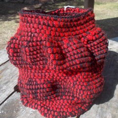 Ribbed Sack made from pure wool.  Original art basket or sculpture.