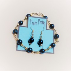 HEMATITE BRACELET + EARRING SET IN  BLUE/GOLD