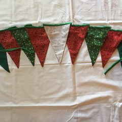 Christmas Bunting - red and green flags with a central white flag