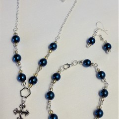 HEMATITE NECKLACE, BRACELET + EARRING SET - BLUE/GOLD