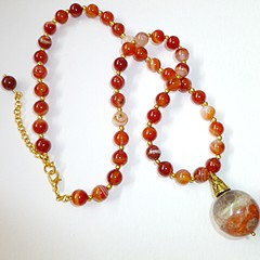 Blossom Agate ball with striped Agate Onyx  bead chain