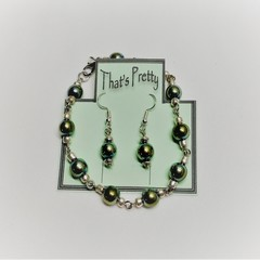 HEMATITE BRACELET + EARRING SET - GREEN/GOLD