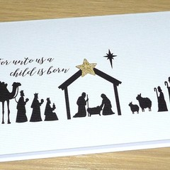 Christmas Nativity card   -  single card or set of 3
