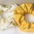 Sweet Honeybee Scrunchies Set of 2 Bumblebee Organic Cotton Hair Elastics
