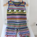 """Blue """"Sheep"""" Overalls - size 6 months - hand knitted"""