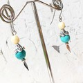 Faux Turquoise Czech Glass Beaded Little Dagger Earrings
