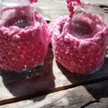 """crochet baby shoes """"dancing feet"""" 100% cotton pink and blue"""