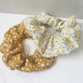 Mustard & Yellow Floral Cotton Print Set of 2 Scrunchies Women's Hair Ties