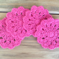4 Crochet Flower Coasters