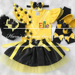 4-pcs set Personalised Yellow and black outfit- yellow and black tutu set -Inclu