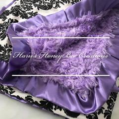 Damask purple Minky Blanket - Swirl Minky Baby Blanket - Baby Pram/Buggy Blanket