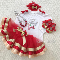 Bring it on Santa Christmas Ribbon trimed tutu skirt Set -Christmas Outfit
