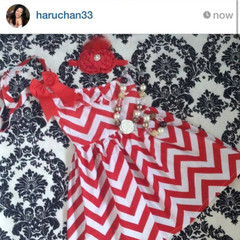 2-pc set Chevron Dress Red Dress and matching headband