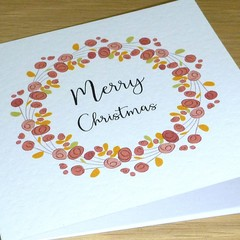 Set 4 Merry Christmas cards - wreath