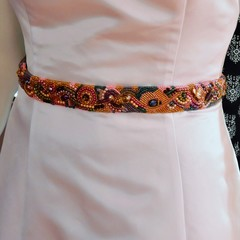Pink Bead Embroidered Bridal sash