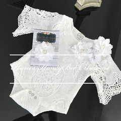 White Lace baby romper and headband -Baby lace romper , baby romper