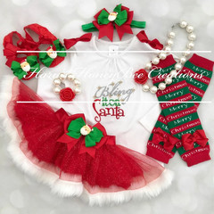 Bring it on Santa Christmas outfit-Christmas Outfit- Includes Top,Skirt,headband