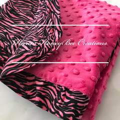 Zebra Minky and Hot pink Minky Baby Blanket - Baby Pram/Buggy Blanket