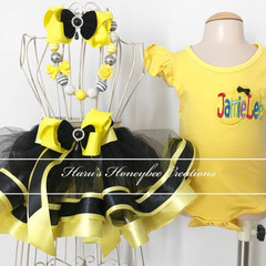 3-pcs set Yellow and black Ribbon trimmed skirt outfit-includes personalised top