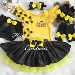 3-pcs set Yellow and black tutu  outfit-includes personalised flutter sleeves to