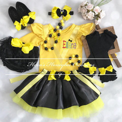 6pcs set Personalised Yellow Wiggles Emma inspired outfit-Includes personalised