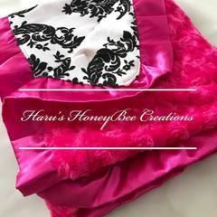 Damask Hotpink Minky Blanket - Swirl Minky Baby Blanket - Baby Pram/Buggy Blanke