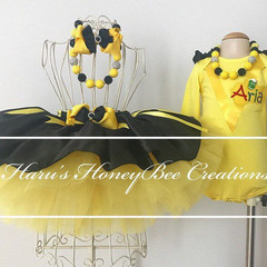 3-pcs set Yellow and black tutu outfit-includes personalised flutter sleeves top
