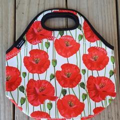 Red Poppies - floral - neopren - lunch bag - handmade
