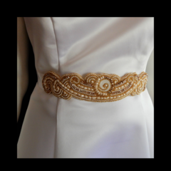 Bead Embroidery Bridal sash in Gold, White & Ivory