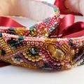 Pink Bead Embroidered Bridal sash
