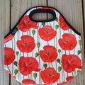 Red Poppies - floral - neopren - lunch bag - handmade