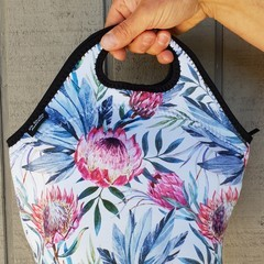 Protea - floral - neopren - lunch bag - handmade