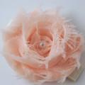 Apricot Shabby Chiffon Flower hair clip.