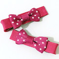 Super special!  Super Sweet Pair of hot pink and white polka dot bows.