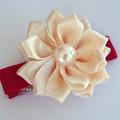 Christmas Cream Satin Flower on red hair clip