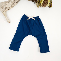 Midnight Blue Cotton Toddler Harem Pants - Loose Fitting Navy Blue Baby Pants